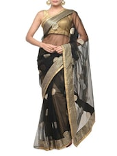 Black And Gold Net Saree - Aakriti