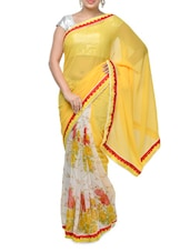 Yellow Floral Print Georgette Saree - Aakriti