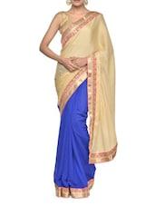 Aqua Blue Embroidered Saree - Aakriti