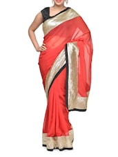 Red And Black Sequined Georgette Saree - Aakriti