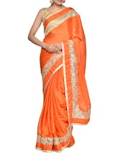 Orange And Gold Silk Saree - Aakriti