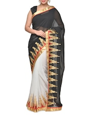 Glamorous White And Black Half And Half Saree With Temple Border - Aakriti