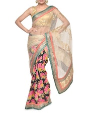 Floral Printed Georgette And Net Embroidered Saree - Aakriti