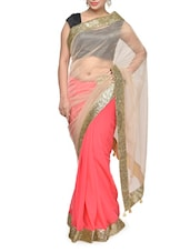 Beautiful Pink Shaded Saree With Glamorous Golden Border - Aakriti