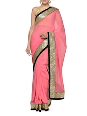 Fabulous Pink Georgette Saree With Sequins Border - Aakriti
