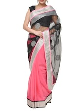 Stunning Pink And Black Net And Georgette Saree With Lace And Sequins Work - Aakriti