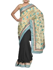 Beautiful Half And Half Black And Blue Saree With Embroidery - Aakriti
