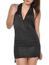 Black Halter-Neck Backless Minidress - Feneleisi