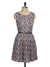 Blue Floral Sleeveless Pleated Dress - La Zoire