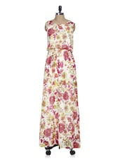 Sleeveless Cream Floral Print Maxi Dress - La Zoire