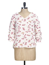 White And Pink Floral Print Top - La Zoire