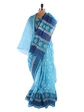 Sky Blue Printed Saree - Fabdeal