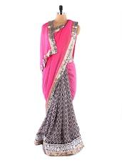 Pink Printed Saree - Fabdeal