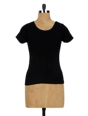 Black Plain Casual Short Sleeves Top - Miss Chase