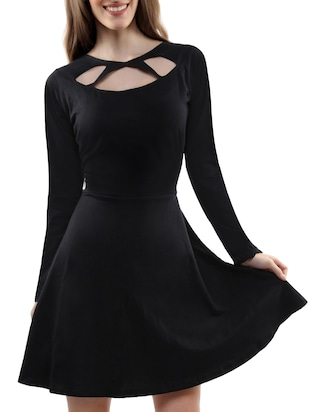 Black Cut-out cotton Skater Dress
