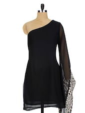 Black One Shoulder With Animal Print Frill Sleeves - Miss Chase