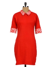 Red Shirt Collar Lady Boss Bodycon Dress - Miss Chase