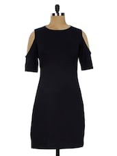 Black Cut-Out Sleeves Cotton Knit Dress - Miss Chase
