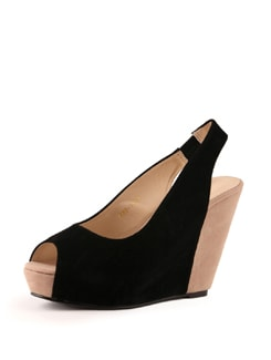 Black Wedge Heels - Tresmode