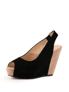 Black Wedge Heels - Tresmode