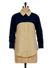 Beige & Navy Blue Color Block Shirt - Miss Chase