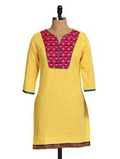 Bright Yellow Kurta With Pink Yoke - Aaboli