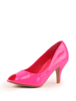 Pink Patent Leather Peep Toe - Tresmode