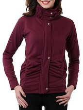 Casual Wine  Fleece Jacket -  online shopping for jackets