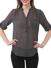 Stylish Grey Sheer Shirt - Purys
