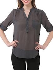 Stylish Grey Sheer Shirt - Purys
