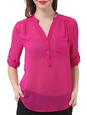 Stylish Pink Sheer Shirt - Purys