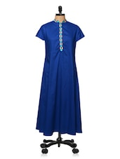 Royal Blue Collared Kurti - Bhama Couture