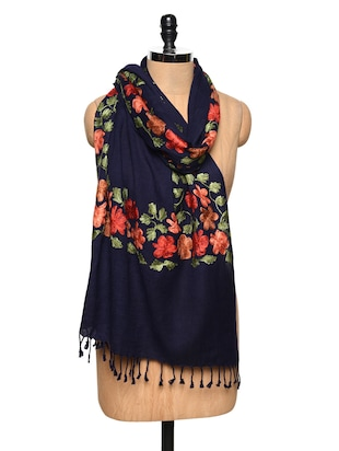 Navy Blue Embroidered Woolen Stole