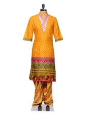Yellow Printed Cotton Kurta And Patiala Set - Tissu