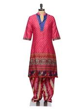 Pink Printed Cotton Kurta And Patiala Set - Tissu