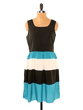 Black And Sea Green Striped Skirt Dress - Missy Miss