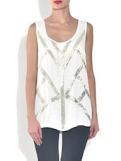 White Sequined Sleeveless Polyester Top - By