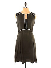 Chic Black Dress With White Piping - Missy Miss