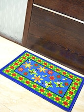 Blue And Green Multi Printed Nylon Doormat - By