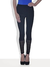 Black Viscose Lycra Leggings With Lace Work - By