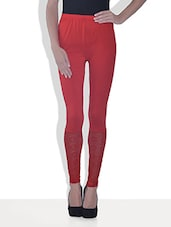 Red Viscose Lycra Leggings With Lace Work - By