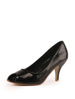 Black Faux Leather Pumps - Tresmode
