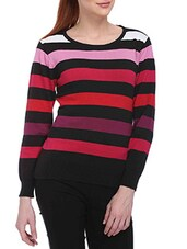 Multicolored Cotton Pullover With Yarn Dyed Stripes - By