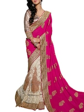 Multi Embroidered And Embellished Net Satin Skirt And Viscose Pallu Half & Half Saree(White,Pink) - By