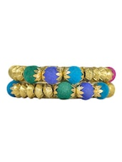 Colourful Gold Bead Bangles (Set Of 2) - ESmartdeals