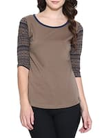brown cotton printed t-shirt -  online shopping for Tops