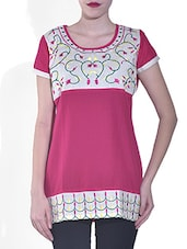 Pink Cotton Embroidered Tunic - By
