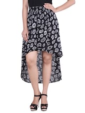 Black Printed High Low Viscose Skirt - By