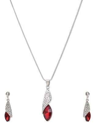 Red Studded Pendant Set -  online shopping for Sets