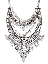 Silver Studded Statement Necklace -  online shopping for Necklaces